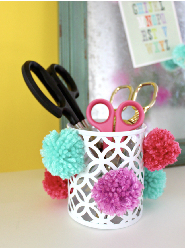 DIY Pom-Pom Pencil Cup