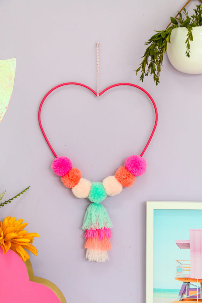 Pom-Pom Heart Wall Hanging