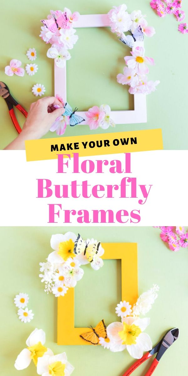 DIY Floral Butterfly Picture Frames