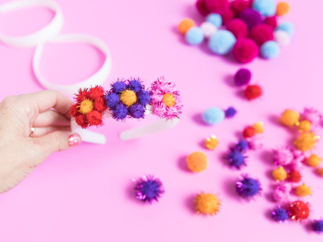 How to make a pom-pom flower headband
