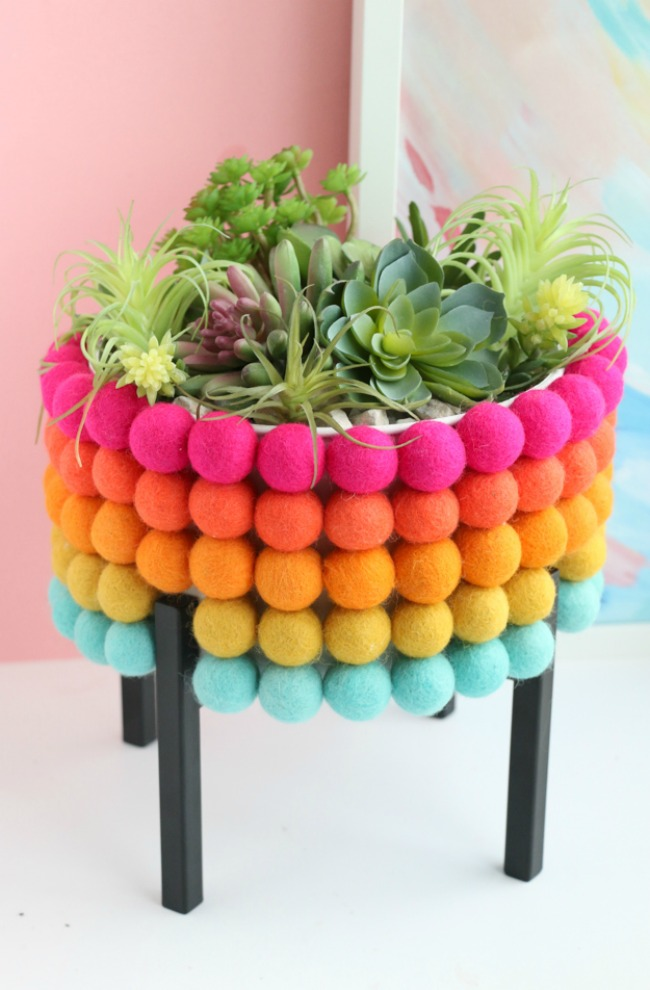 DIY rainbow felt ball planter