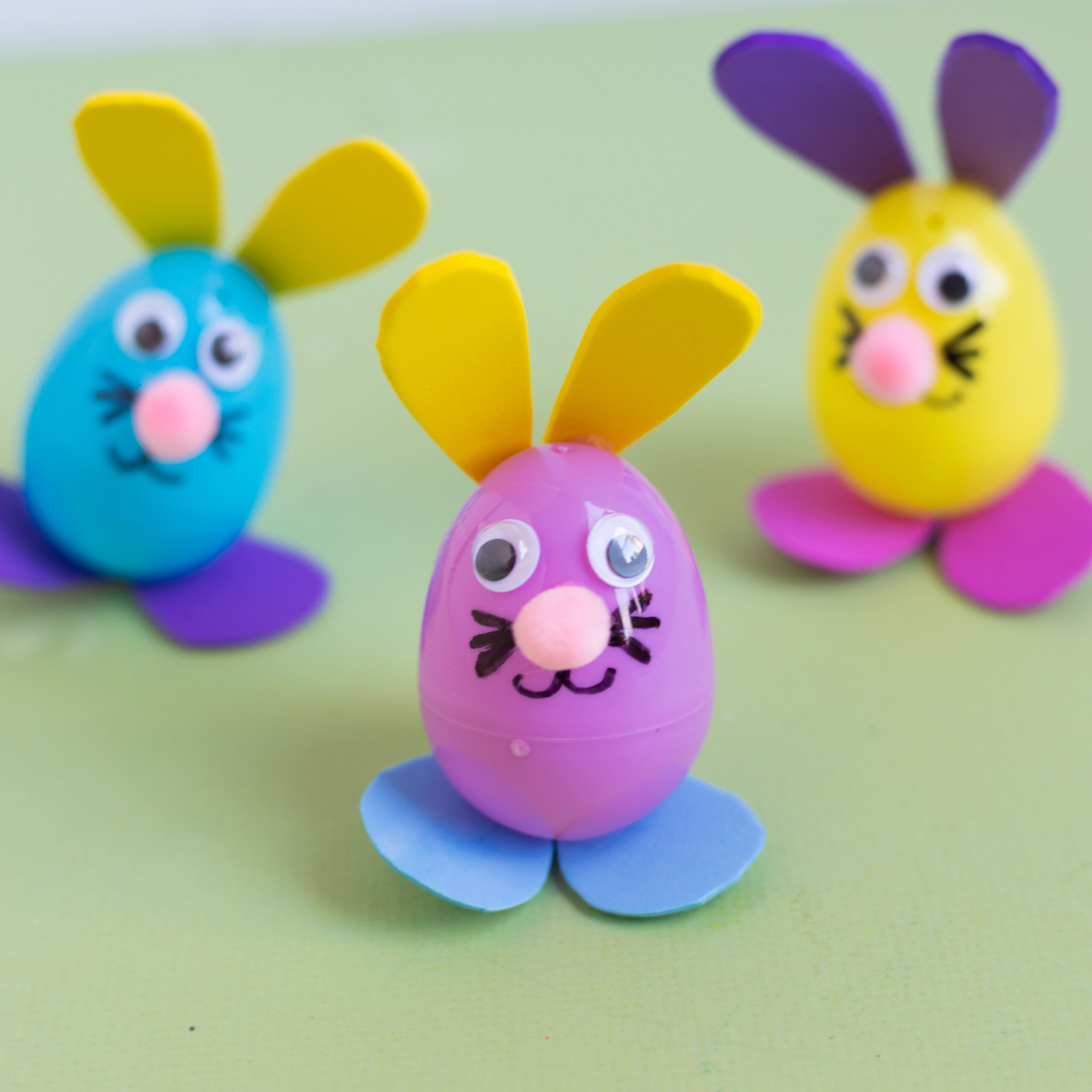 Plastic eggs decorated like Easter bunnies