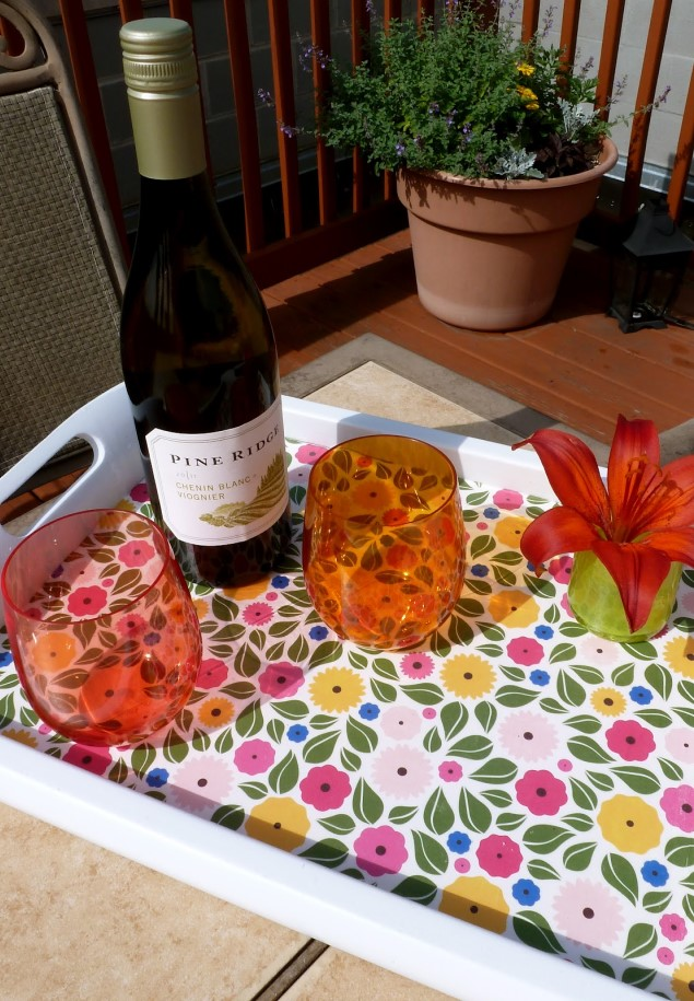 Serving tray makeover with scrapbook paper