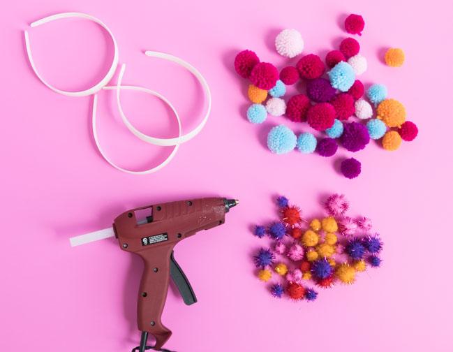 Supplies for DIY pom-pom headbands