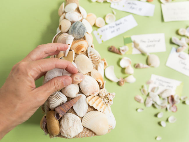DIY seashell tree cone decor
