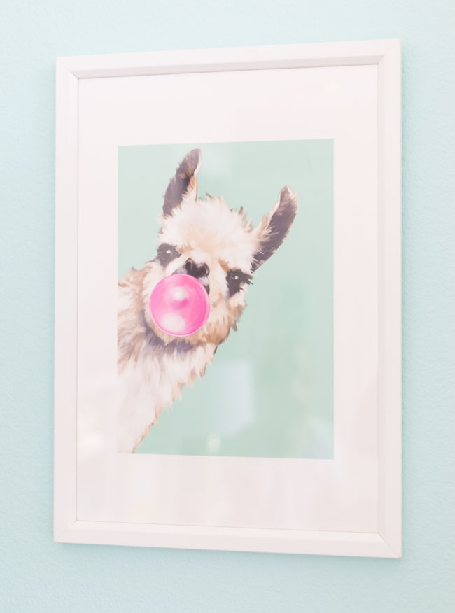 Llama blowing bubbles art
