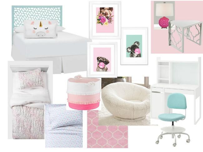 Pastel pink girls bedroom decor mood board