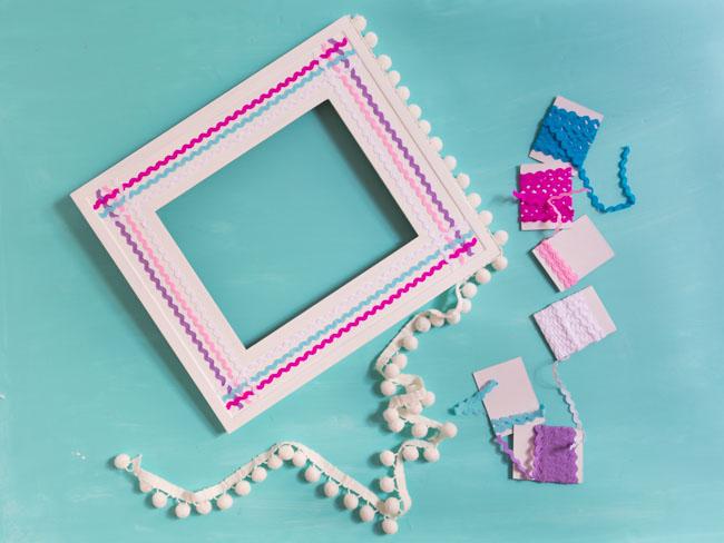 Picture frame with rickrack and pom pom trim