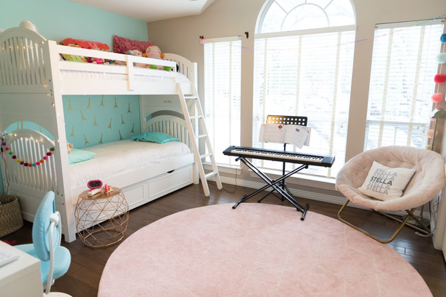 Teal Paris Themed Girls Bedroom