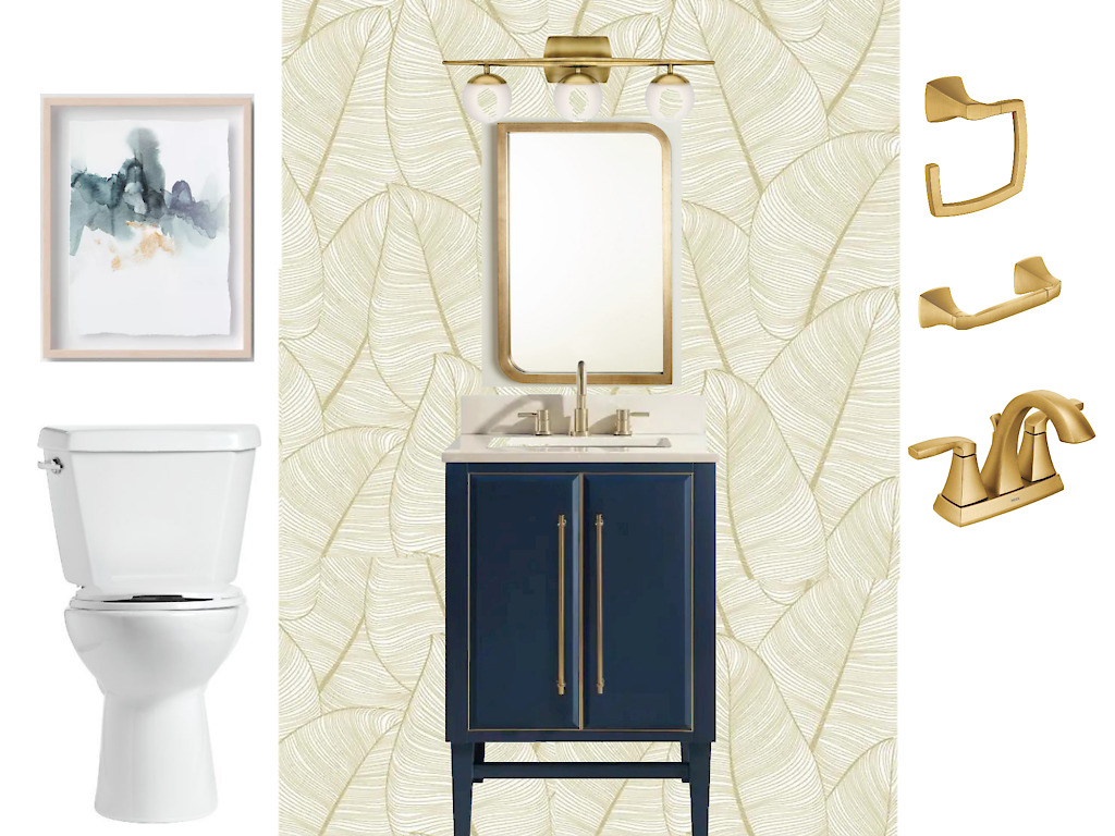 Elegant Navy Blue and Gold Powder Room Design