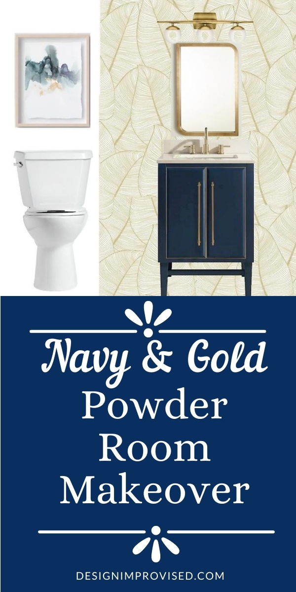 Navy and Gold Powder Room Makeover