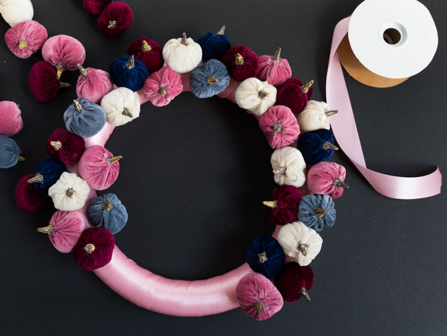 Modern Pink Pumpkin Wreath Tutorial