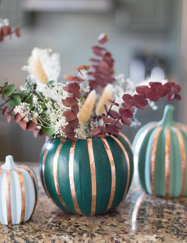 DIY Pumpkin vase with copper tape