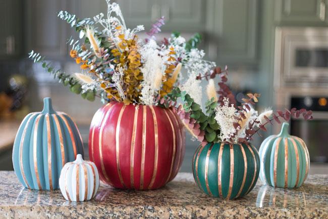 Faux pumpkins with copper foil tape