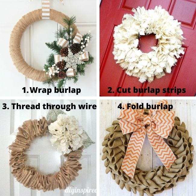 Four different techniques for making DIY burlap wreaths