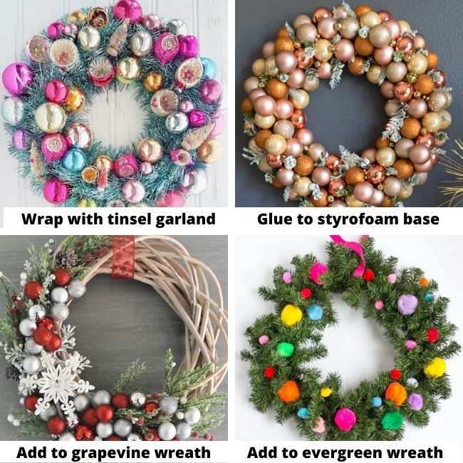Different ways to make Christmas Ornament Wreaths