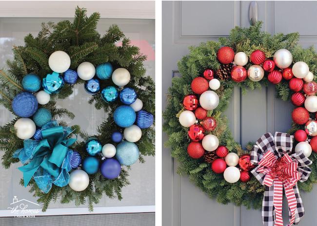 DIY Christmas wreaths with ball ornaments on evergreen wreath