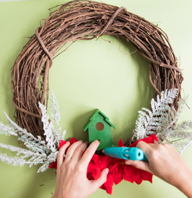 How to glue bird house to wreath
