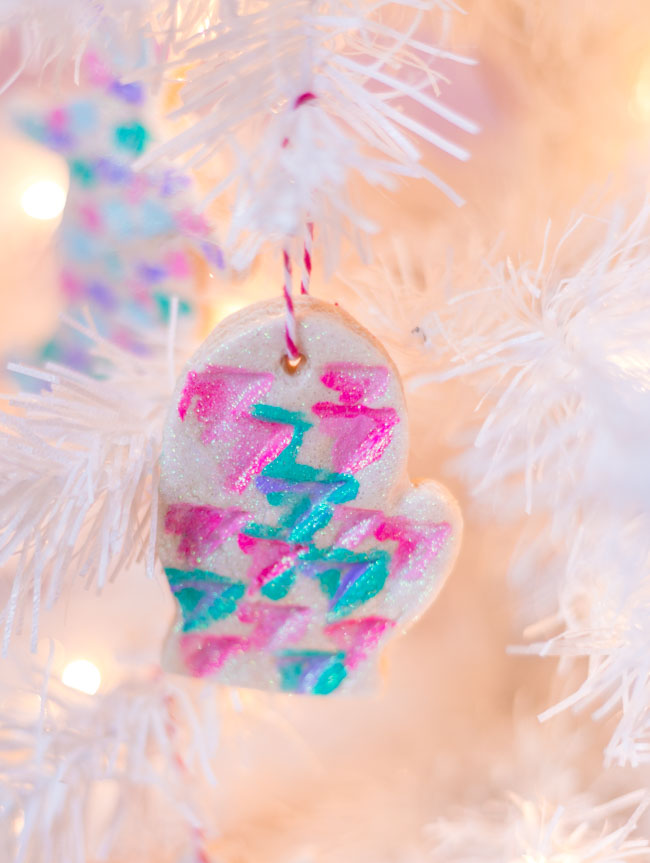 Paint and glitter salt dough ornament