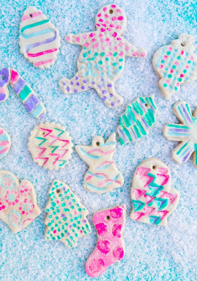 The prettiest glitter salt dough ornaments