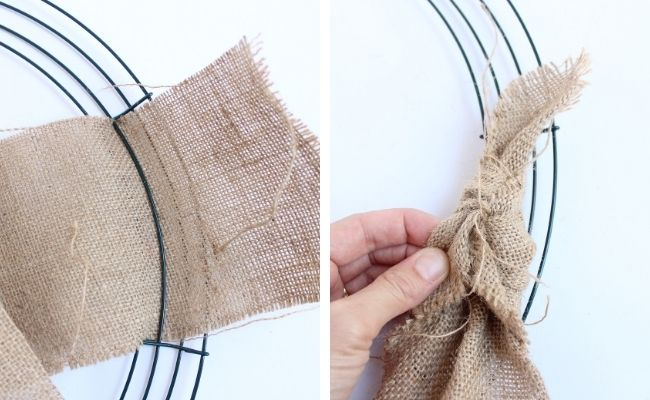 Tying burlap ribbon to wire wreath form
