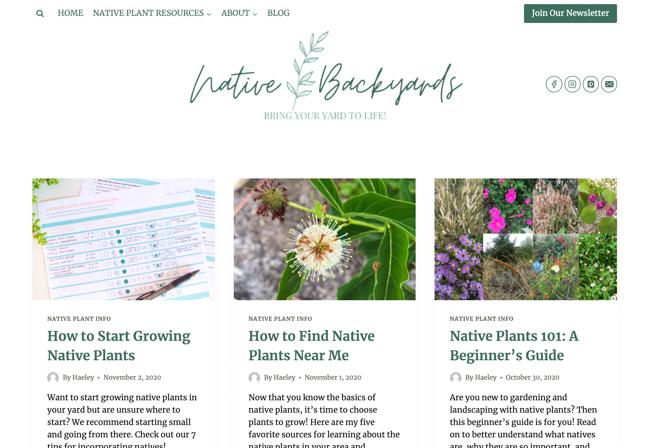 Native Backyards blog
