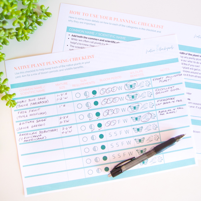 Free printable native plant garden planner