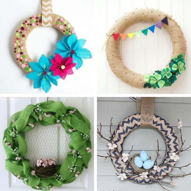 Spring burlap wreath ideas
