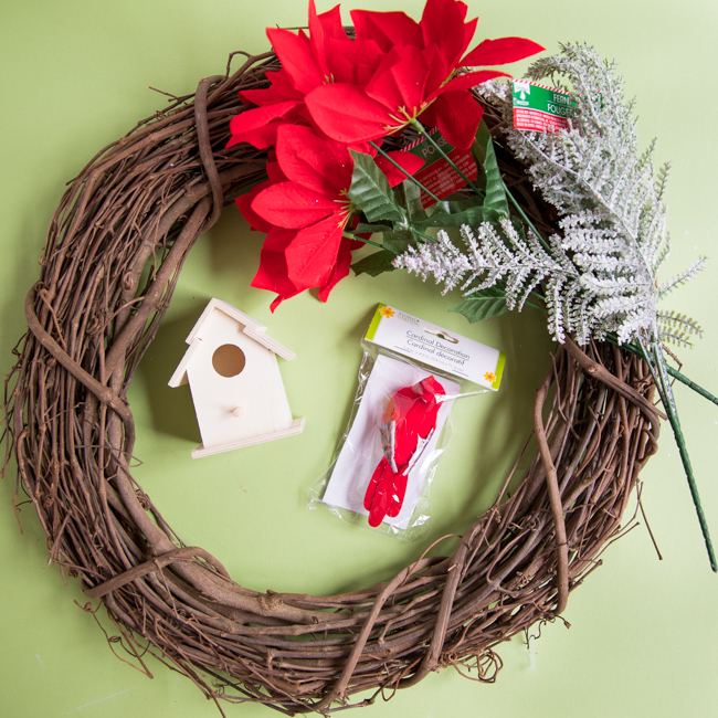 Supplies for Dollar Tree Christmas Wreath