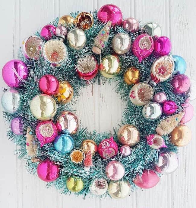 DIY Christmas Bauble Wreath