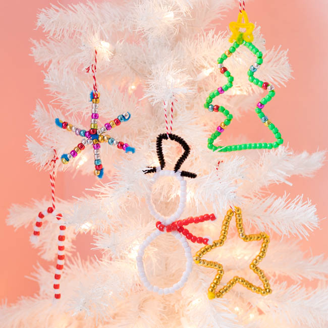 DIY pony bead ornaments