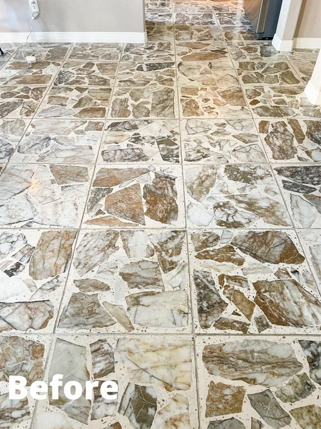 Stone tile cleaning before