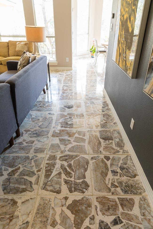 Refinished stone floor tiles