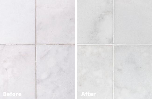 Grout repaired with Marblelife Colorseal