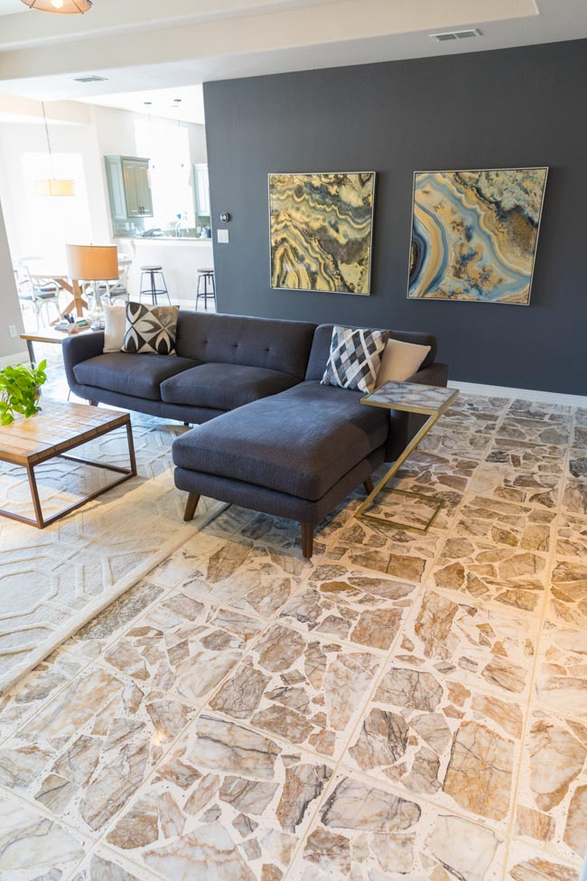 Living room with agglomerate terrazzo stone floors