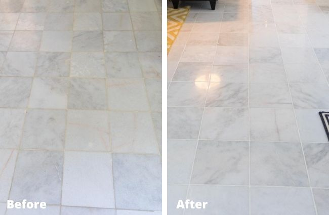 Marble tile floor refinishing before and after