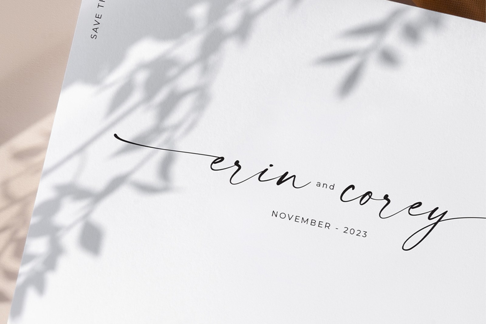 simple and clean minimalist wedding invitation card and save the date with a modern calligraphy font