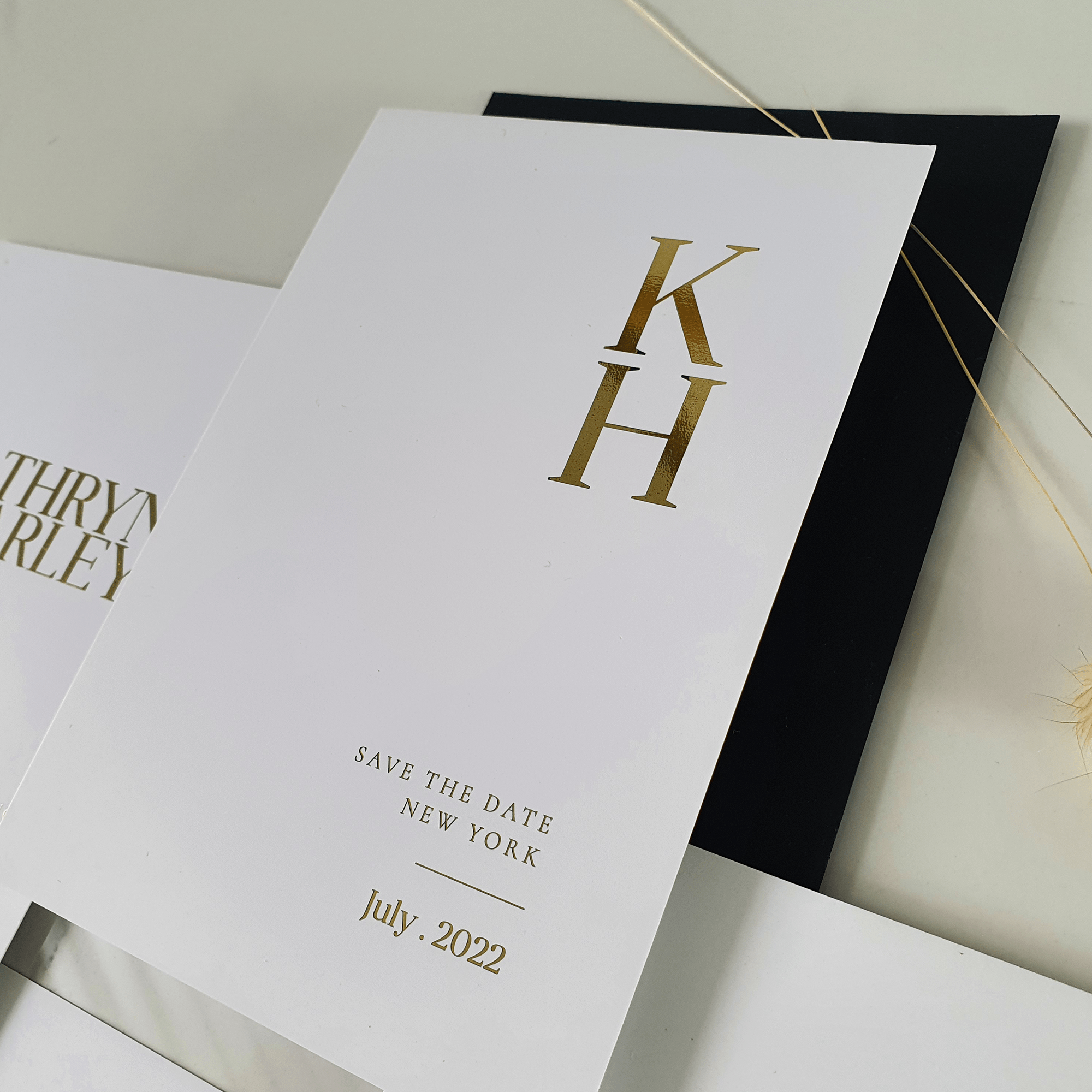 Monogram save the date wedding card for wedding in new york