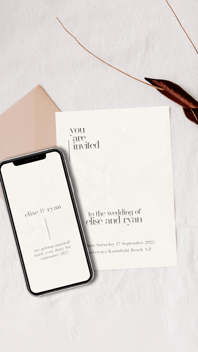 semi-custom wedding invitation suite in black and white with a modern typography design aesthetic. designed for both print and digital. image shows digital save the date and printed invitation from the boston semi-custom wedding invitation collection