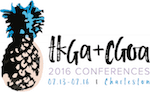 "Pineapple drawing with ""TKGA+CGOA 2016 CONFERENCES""; in 2016 the knitting and crochet guilds held a joint conference."
