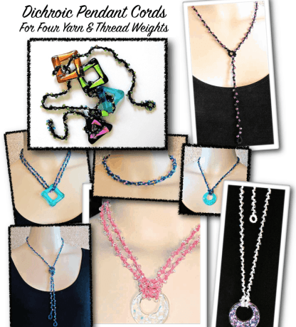 Montage of eight necklaces in four yarn and thread weights styled as lariats and other standard jewelry lengths.