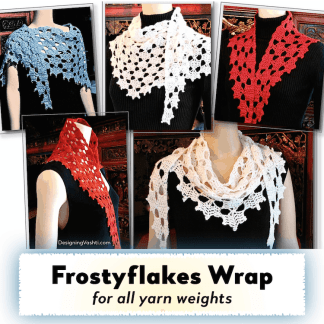 Frostyflakes Wrap styled 5 ways in 5 different yarns