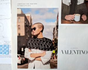 "Sleek black lace crew-neck capelet for daytime urban streetwear (Oct. 2016 Valentino ad for ""Glamgloss"" sunglasses)"