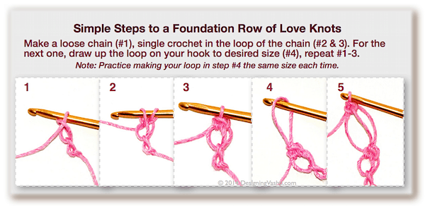 How to crochet a foundation row of love knots (lover's knot, Solomon's knot) in five steps