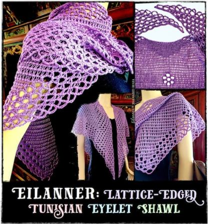 Eilanner Shawl by Vashti Braha: Lattice-Edged Tunisian Eyelets