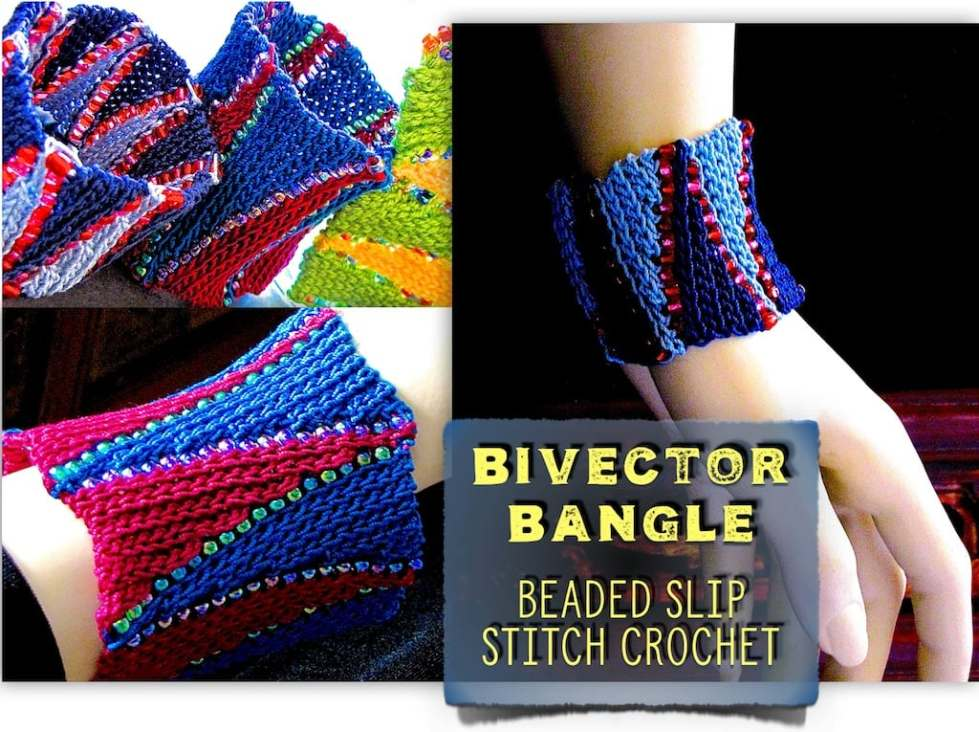 Close ups of beading, thread, slip stitch short rows for Bivector Bangle Crochet Class by Vashti Braha