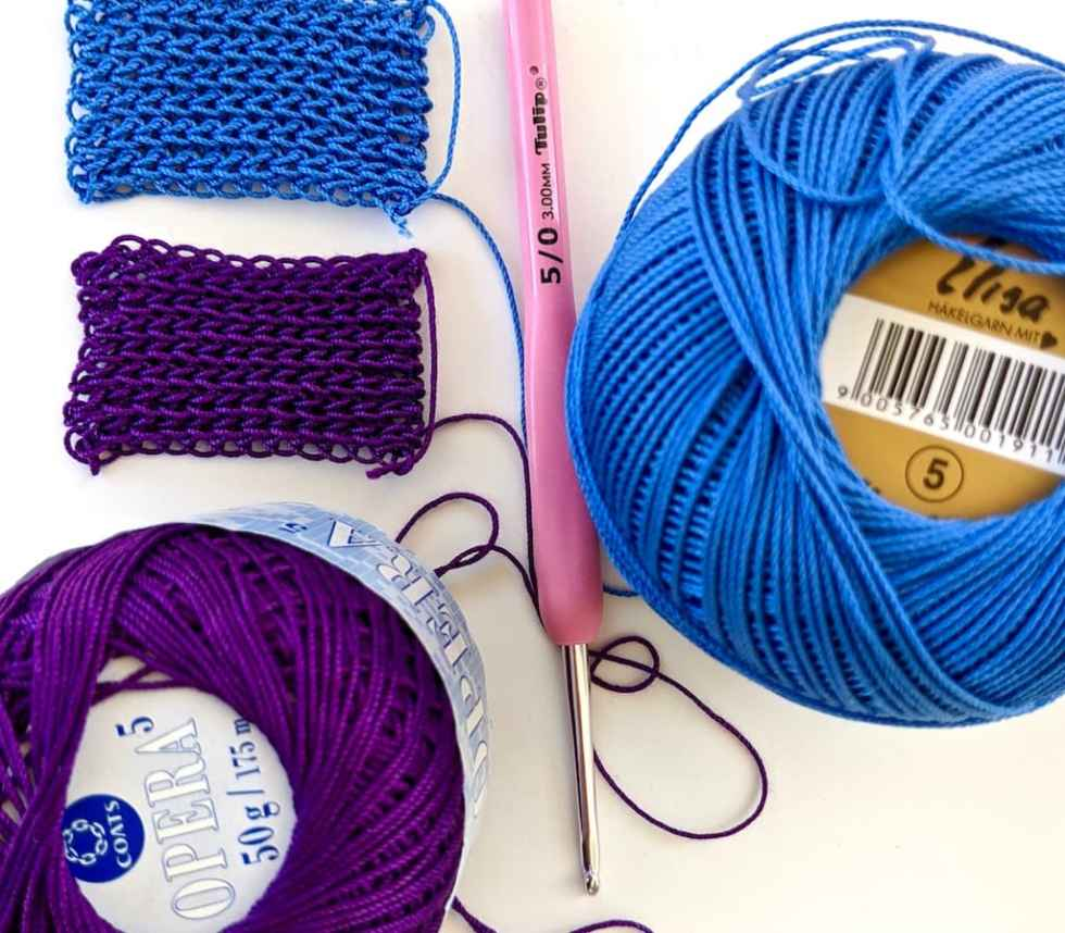Size 5 threads Opera vs Elisa and 3 mm crochet hook for slip stitch crochet Bivector Bangle class.