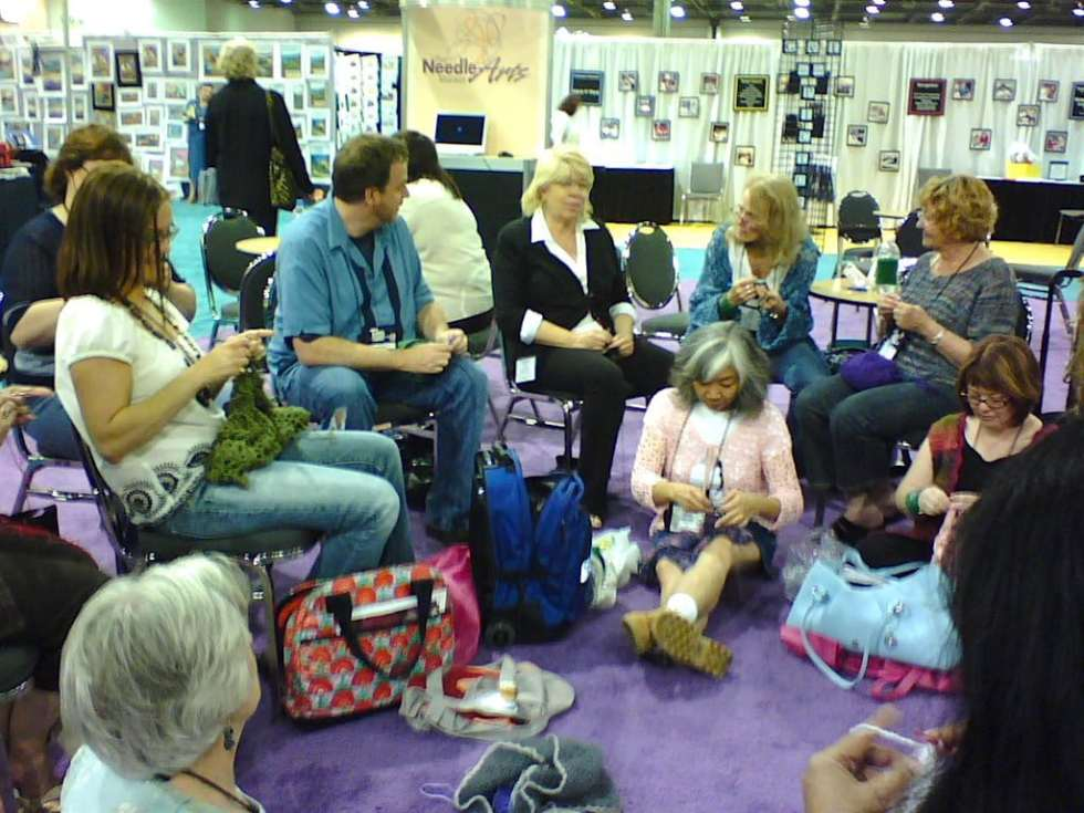 60s-style Crochet-In at 2007 TNNA industry show from front left around: Gwen Blakley Kinsler, Amy (yarn shop staff), Drew Emborsky, Candi Jensen, Doris Chan, Marty Miller, Jane Schwartz, Sheryl Means (Texas yarn shop owner)