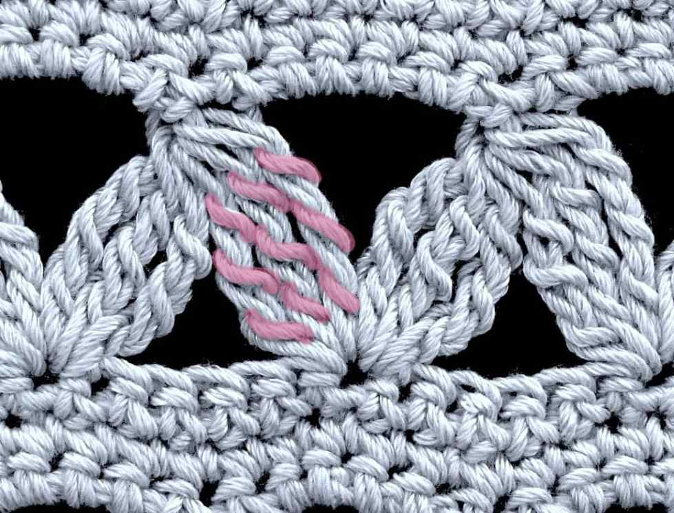 Close up of stitch pattern with tall stitch clusters; the yarn over strands have been tinted to highlight them within a cluster.