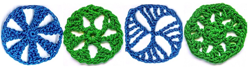 Four tall stitch circles with new looks thanks to the branches you can add to the sides of them